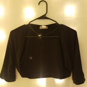 Girl's Black Open Front Cardigan [Used]